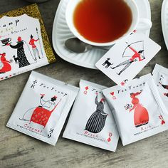 angers: Tea cards four of a kind set - Purchase now to accumulate reedemable points! Japanese Packaging, Coffee Packaging, Label Design, Packaging Design, Branding Design, Presentation Cards, Fashion Packaging, Japanese Design, Graphic Design Illustration