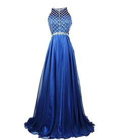 Beilite Womens Scoop Chiffon Neckline Beaded Long Prom 2017 Newcoming Dresses For Sale 2 Blue * Amazon most trusted e-retailer #HomecomingDresses2017