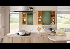 Kitchen with peninsula Swing Collection by LUBE INDUSTRIES S.R.L.