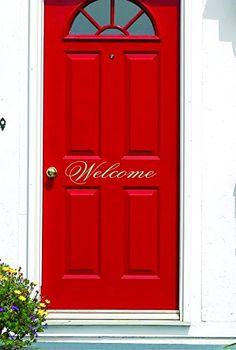 Welcome Door Decal - Small Decal - Welcome Vinyl Lettering for Door - Front Door Decals - SF - made in the USA Letter Find, Welcome Door, Spa Deals, Monogram Decal, Childrens Room Decor, Laptop Decal, Vinyl Lettering, Porch Decorating, Vinyl Wall Decals