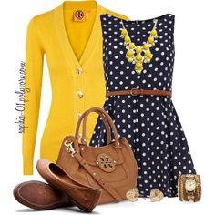 Canary and navy polka dots