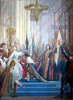 Coronation of Charles VII with St. Joan of Arc by his side. Painting by E. Lenepveu.