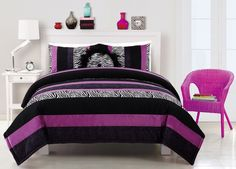 """Full/Queen includes comforter 86x86"""" and tow shams that measure 20x20"""" each.  Dry Clean Only."""