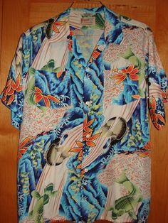 Vintage 1940s Hawaiian Shirt Japan Koi Rayon by Pigeon