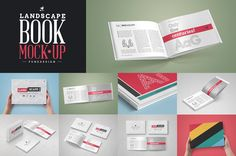 Landscape Book Mock-Up Set, 8 PSD Presentations / 13 Different Book MockupsHigh Quality Mockups / Optimized for A4 formatCS4 or Higher / Fully LayeredHigh Resolution / 4000x3000px / 300dpiChangeable Backgrounds via smart object / Additional Backgrounds IncludedChangeable reflections and shadowsWorks with any colorFlattened Book Design IncludedHelp File w/Instructions