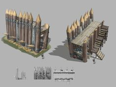 Inspiration for the palisade around the agriculture village. Fantasy Castle, Fantasy House, Fantasy Places, Fantasy Map, Medieval Fantasy, Historical Architecture, Concept Architecture, Ancient Architecture, Classical Architecture