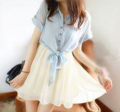 """Material:chiffon Color:blue,pink,white,purple,yellow,  Size:M,L,XL, Size+M: Bust:88cm/34.32"""",waist:60cm-80cm/23.4""""-31.2"""",sleeve+length:25cm/9.75"""",length:82cm/31.98"""", Size+L: Bust:92cm/35.88"""",waist:60cm-80cm/23.4""""-31.2"""",sleeve+length:25cm/9.75"""",length:83cm/32.37"""", Size+XL: Bust:96cm/37.44..."""