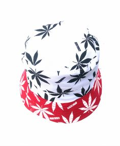 Hand Made Cannabis Leaf Bucket Hat - White with Red Brim 50 g 35 cm x 21 cm Cotton Reversible Choice of inner fabric Lightweight Washable Hand Made Bucket Hat, Hats, Fabric, Red, Cotton, Handmade, Jewelry, Tejido, Tela