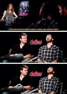 """Hahahaha<<Do they just have to stop and remind him that he's not ACTUALLY Steve Rogers? Because he seems to be in a genuine """"I don't want to hurt either bff's feelings"""" mode."""
