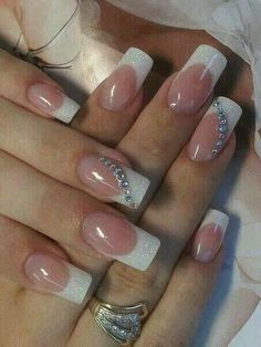 50 Top Best Wedding Nail Art Designs to Get Inspired French Nails, French Manicure Nails, Elegant Nails, Classy Nails, Stylish Nails, Simple Acrylic Nails, Bride Nails, Wedding Nails Design, Nail Tips