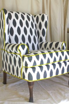 Slipcovered Gray Ikat Dot Wing Chair From Twill Slipcover Studio