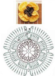 Crochet Diagram, Crochet Chart, Crochet Motif, Diy Crochet, Crochet Flower Tutorial, Crochet Flower Patterns, Crochet Designs, Yarn Flowers, Knitted Flowers