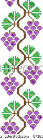 seamless embroidered good like handmade cross-stitch ethnic Ukraine pattern. vineyard stylization