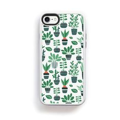 Stylized green cactus succulents potted on white for iPhone 7