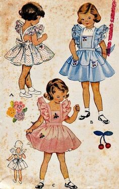 Little Pink Studio: Tuesday tutorial: Vintage hankie journalsTie Dye Diva Patterns: Vintage Inspired Cross Back PinaforeI had a blue and white outfit just like this. I loved it so much my mother added a lace inset to it so I could keep on wearing it Vintage Girls Dresses, Vintage Dress Patterns, Little Girl Dresses, Vintage Outfits, Childrens Sewing Patterns, Sewing For Kids, Baby Sewing, Free Sewing, Retro Mode