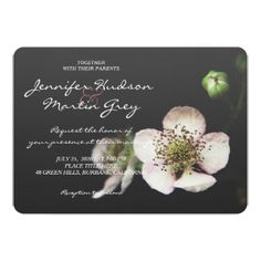 Rustic Blooming Blackberry Bush Wedding Invitation - wedding invitations diy cyo special idea personalize card