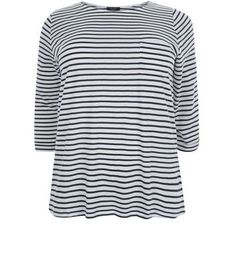 "Curves. Bring classic stripes into your everyday look with this blue stripe 3/4 sleeve top. Team with skinny jeans and plimsolls for an effortless finish.- All over stripe print- Single pocket front- Rounded neckline- 3/4 sleeves- Casual fit that is true to size- Soft cotton fabric- Model is 5'9""/180cm and wears UK 18/EU 46/US 14 Created for women of size 18 to 28/EU 46 to 56**Selected styles are available up to size 32/ EU 60"