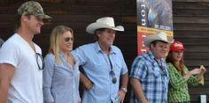 cast of Longmire Tv show in Buffalo, Wyoming on Longmire days.