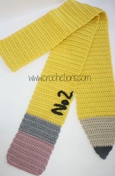Pencil Scarf pattern by Shelley Brown This free crochet pattern scarf would make the perfect gift for a special teacher or even just for yourself! Crochet Kids Scarf, Cute Crochet, Crochet Scarves, Crochet For Kids, Crochet Yarn, Crochet Clothes, Crocheted Scarf, Crochet Teacher Gifts, Crochet Patterns