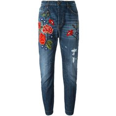 Twin-Set Rose Embroidery Boyfriend Jeans ($266) ❤ liked on Polyvore featuring jeans, blue, blue jeans, rose jeans, boyfriend fit jeans, boyfriend jeans and embroidered jeans