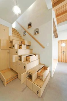 staircase storage design #drawers #closets