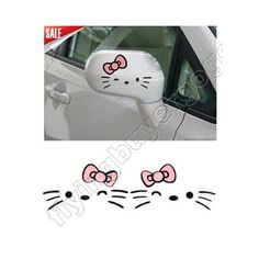 Black Friday Hello Kitty Beard Bow Graphics Auto Car Truck Mirror Decor Stickers Decals BP from Hello Kitty Mirror Decal, Mirror Stickers, Car Mirror, Hello Kitty Car, Hello Kitty Items, Hello Hello, Car Decals, Bumper Stickers, Cute Car Accessories