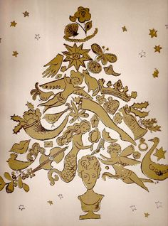 Andy Warhol - Christmas tree by Andy Warhol for Harper's Bazaar, 1957 Andy Warhol Pop Art, Andy Warhol Drawings, Christmas Drawing, Christmas Art, Christmas Graphics, Christmas Stuff, Street Art, Matou, Poster S