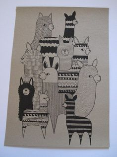 Llamas and alpacas drawing