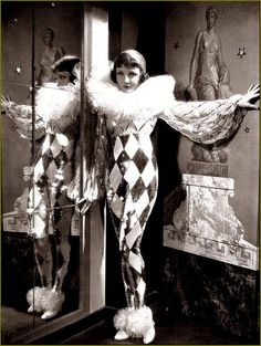 Tonight is Ours - Claudette Colbert as Princess Nadya wearing a sequined Pierrot costume with huge diamanté tulle ruffled collar and chiffon sleeves. The costumes were designed by Travis Banton. Pierrot Costume, Pierrot Clown, Jester Costume, Clown Costume Women, Cirque Vintage, Vintage Clown, Vintage Circus Costume, Vintage Costumes, Vintage Witch