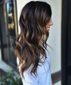 Hair Painting Dark Brunette Hair with Caramel Highlights