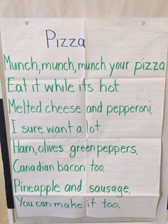 kindergarten pizza poem - Google Search | Book Cook | Pinterest ...