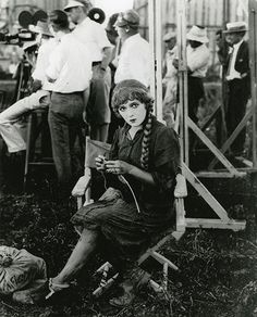 Mary Pickford on the set of Sparrows