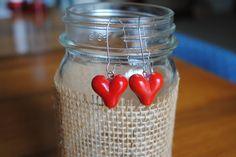 Strawberry Hearts Earrings. $8.00, via Etsy.
