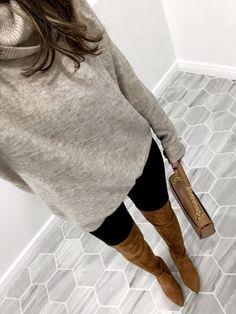 OTK boots, oversized sweater