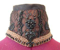Victorian steampunk  goth posture collar Brown by hhfashions, $30.00