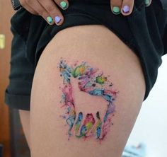 Watercolor deer tattooed by Javi Wolf - Love the colors. Negative space with color awesome. I always wanted a watercolor tattoo and never thought about doing it this way! Pretty Tattoos, Beautiful Tattoos, Body Art Tattoos, New Tattoos, No Line Tattoos, Space Tattoos, Thigh Tattoos, Javi Wolf, Tattoo Bunt