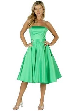 Knee-length Satin A-line Greens Bridesmaid #Dress Style Code:00225 $64