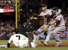 Game 2 of the NLCS-Craig and Descalso argue that he was out  10-15-12