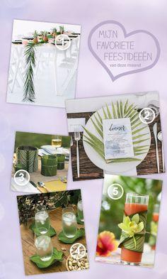 Style my party blog - Mijn favoriete feestideeën - Augustus: tafelversiering met tropische bladeren