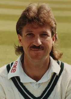 """Born: November 1955 ~ Sir Ian Terence Botham, OBE is a former England Test cricketer and Test team captain, and current cricket commentator. (England all-rounder and hero of Headingley Ian Botham, teams his tache with a fashionable """"mullet"""") Test Cricket, Icc Cricket, Cricket Sport, Ian Botham, England Cricket Team, Cricket Wallpapers, Sports Personality, Cricket World Cup, Cancer Man"""