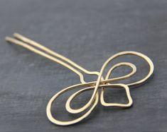 Antique copper hair slide hair barrette hair pin hair clip