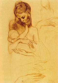 Pablo Picasso - 1881 - 1973 Sketch and study - Mother and child