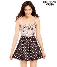 Heart Print Skater Skirt