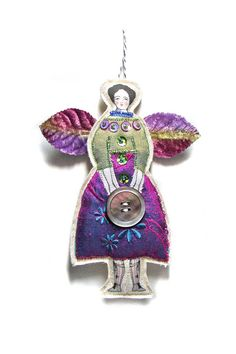 The Button Fairy A Tiny Textile Art Doll van theresahutnick op Etsy, $14.00