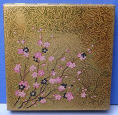 Beautiful Vintage Le Rage Gold Tone Pink Cherry Blossom Powder Compact 1950s/60s