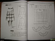 Design and style skirte--etekler - modelist kitapları Clothing Patterns, Dress Patterns, Sewing Patterns, Sewing Ideas, Modelista, Social Icons, Book And Magazine, Rock, Sewing Techniques