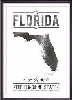 Florida State Typography Print