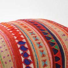 Beige Lanna Hmong tribal cotton pillow cover por LittleAtticshop
