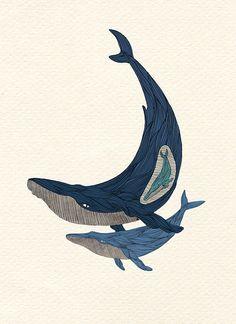 Whale Print  Nautical Print  A4 Print  by AlexisWinter on Etsy, $25.00