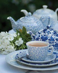 blue and white china tea service